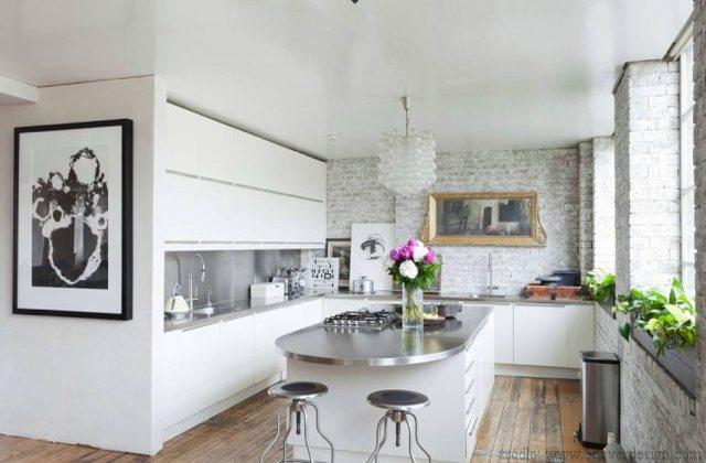 Ceglana ściana W Kuchni Meble Zdjęcia Projekty