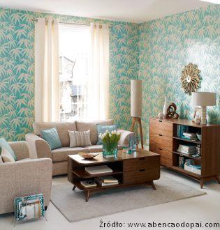 Wn trza w stylu prl meble zdj cia projekty wn trza - Salones decorados con papel pintado ...